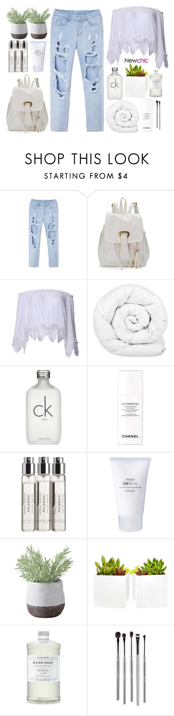 """""""#Newchic"""" by credentovideos ❤ liked on Polyvore featuring Brinkhaus, Calvin Klein, Chanel, Byredo, Muji, Torre & Tagus, Shop Succulents, Williams-Sonoma and esum"""