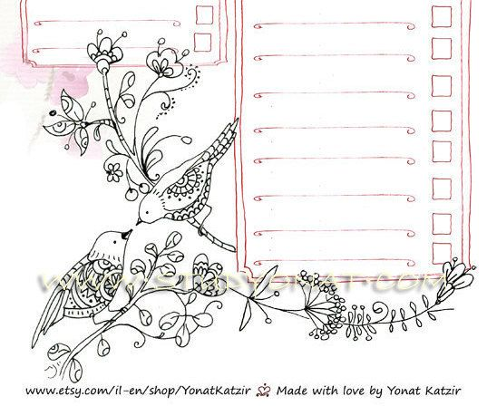 Love birds daily planner, organise your day, A-4 Printable daily ...