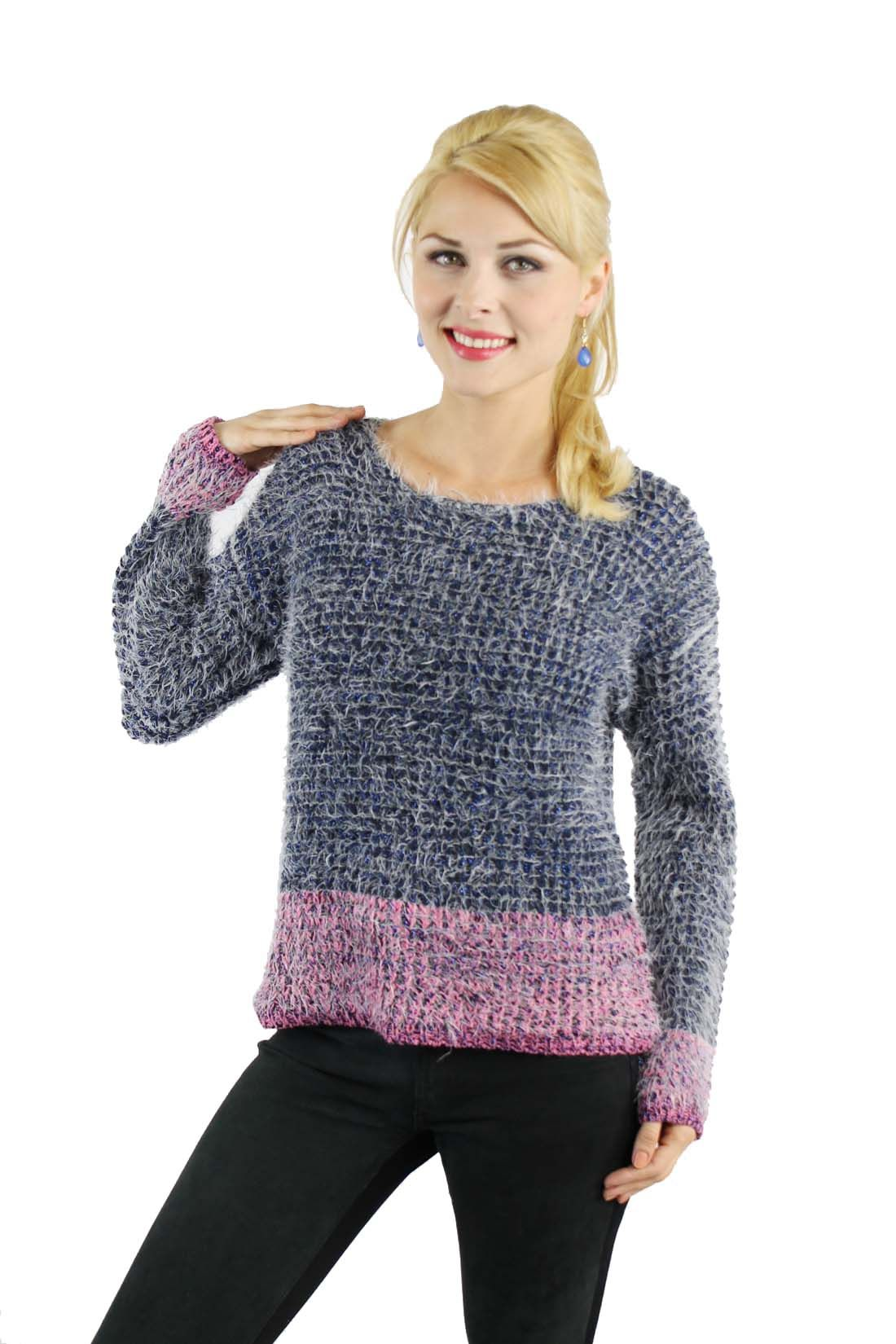 Enewwholesale sells Blue fuzzy shimmered sweater with pink strip ...