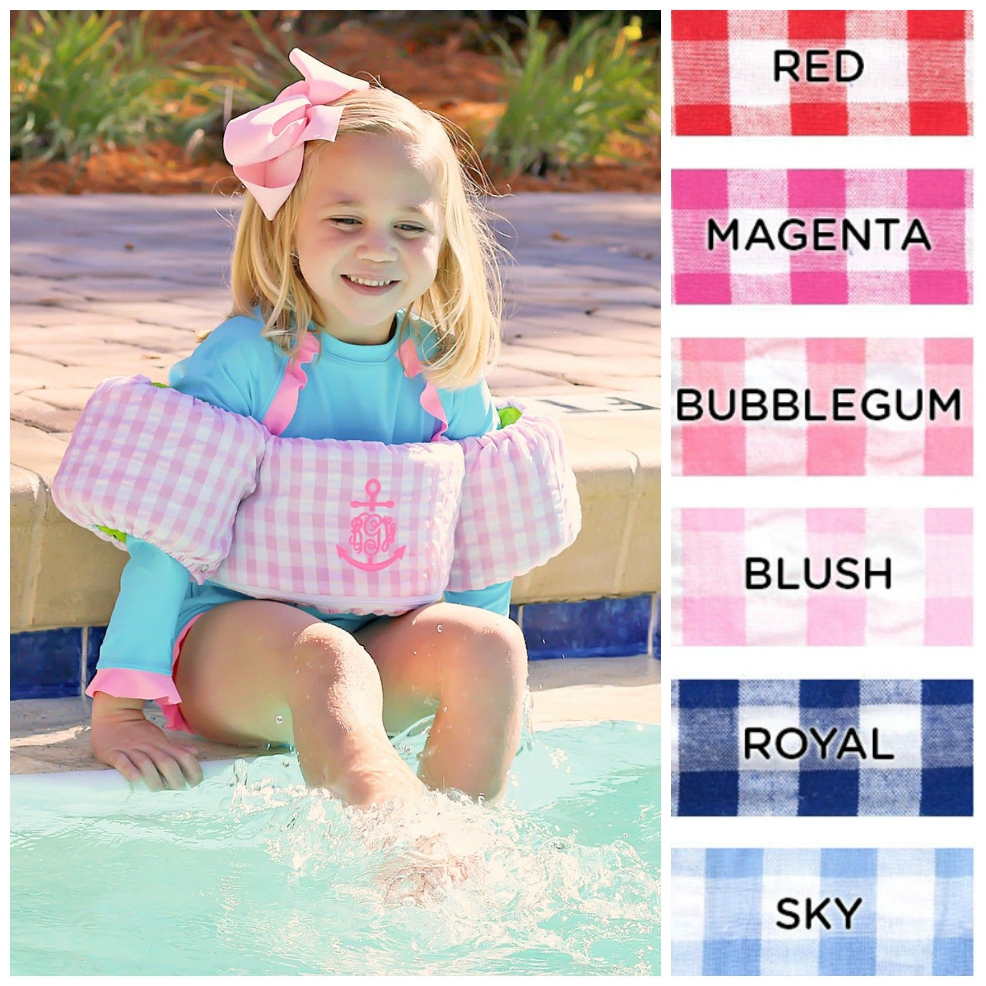 52358ceafc Check Seersucker Puddle Jumper Cover - Swimwear - Girls Smocked Auctions