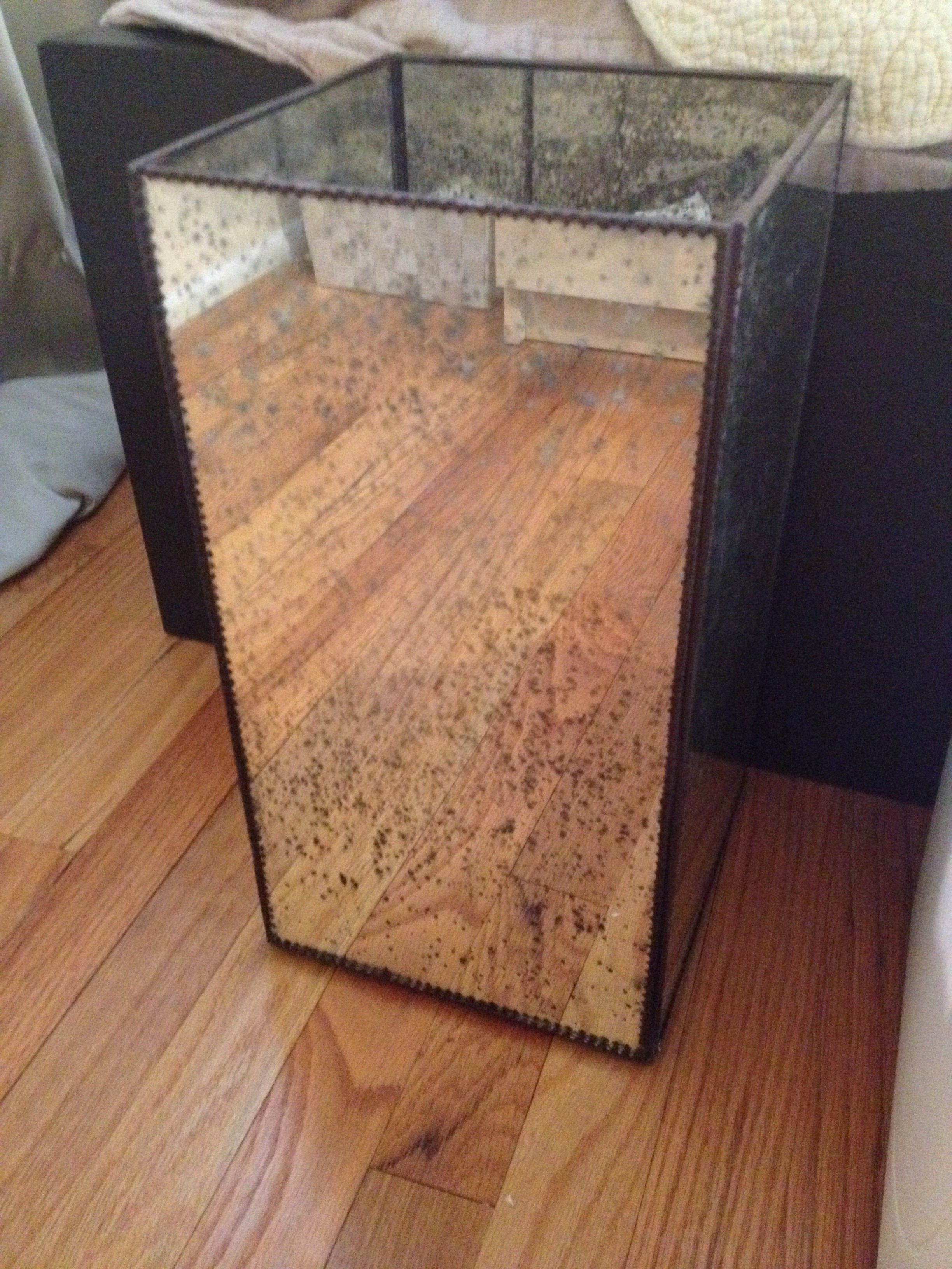 """The most amazing vase turned wastebasket ever!  Antiqued glass with Moroccan metal trim.  8"""" square and 15"""" high."""