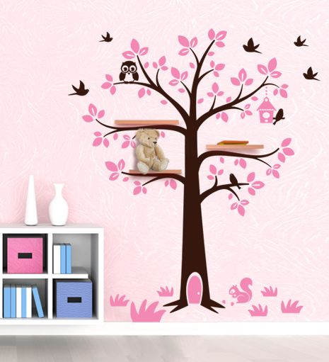 Sticker da muro albero porta mensole per decorare la for Stickers da parete ikea