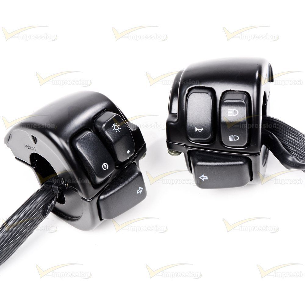 """2X Black Motorcycle 1/""""25mm Handlebar Control Switch W// Wiring Harness For Harley"""