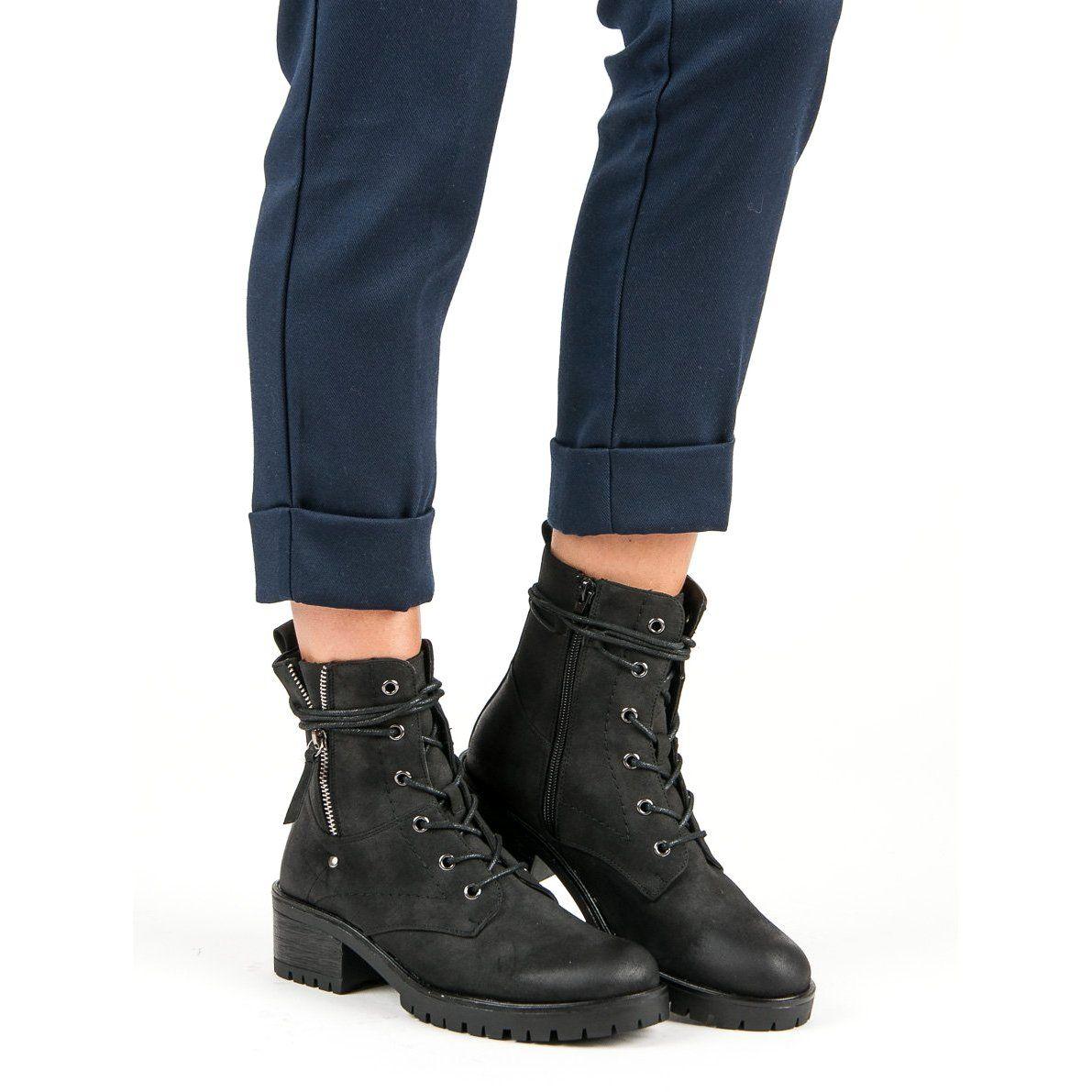 Workery Vinceza Czarne Boot Shoes Women Work Boots Plastic Heels
