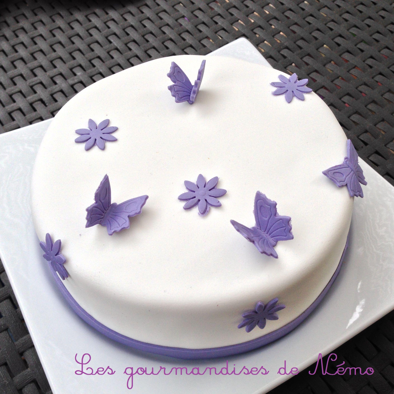 Gateau Simple Pate A Sucre Gateau Theme Papillons Et Fleurs