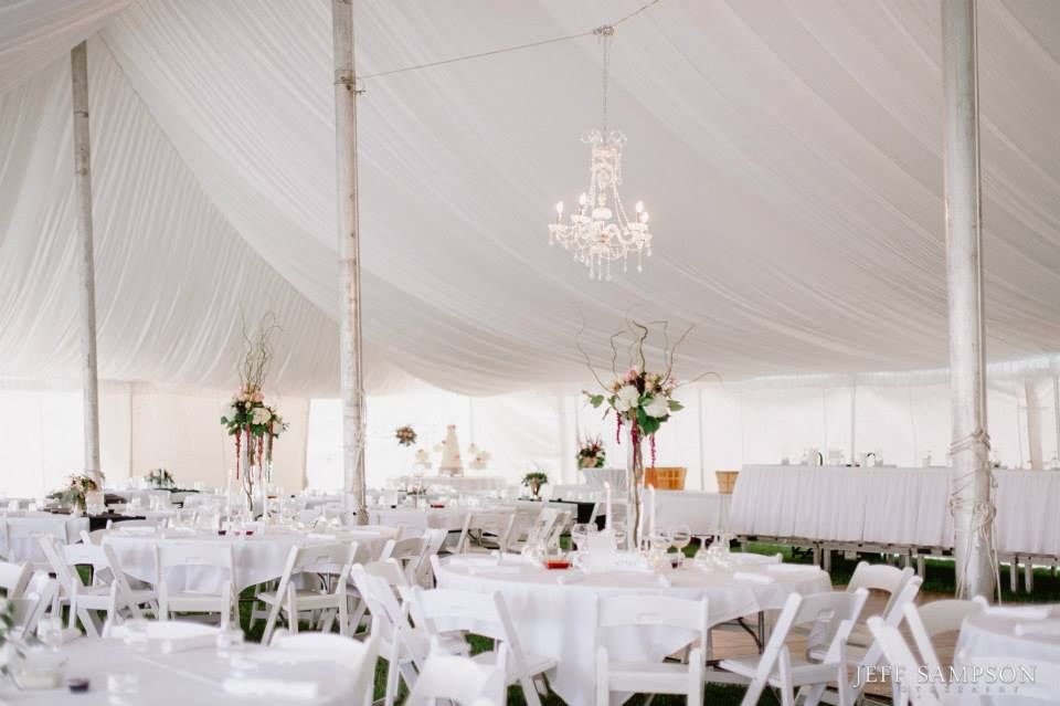 Tent Liner used in the high peak pole tent for the wedding of Erica and Craig. Photo Courtesy of Jeff Sampson Photography. Contact 605-332-4222 for more information or come view other items in our showroom at 3501 S. Minnesota Ave.