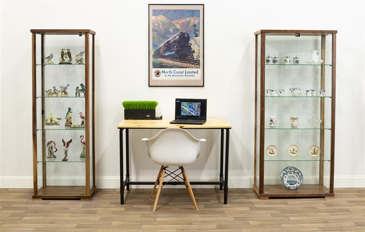 31 5 Glass Display Case Adjustable Shelves Locking Ships Unassembled Walnut Shelves Glass Curio Cabinets Floating Glass Shelves