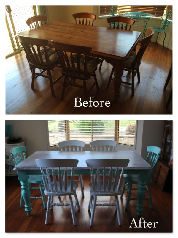 Shabby Chic Timber Dining Set Painted In A Gorgeous Aqua Colour And Table Top Washed With White Chalk PaintDining