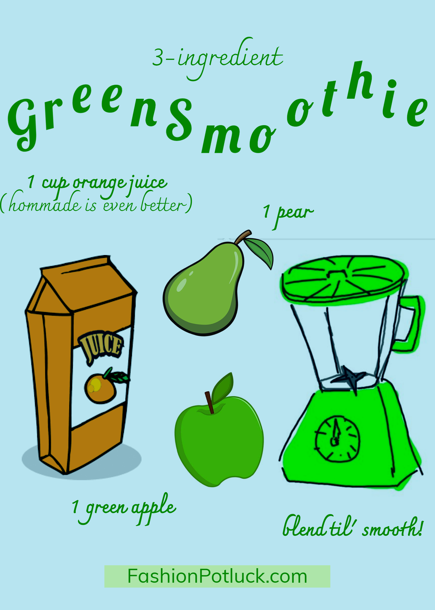 3ingredient Green Smoothie Recipe 3 ingrediënten