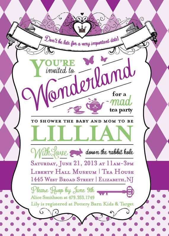 alice in wonderland baby shower invitation | shower invitations,