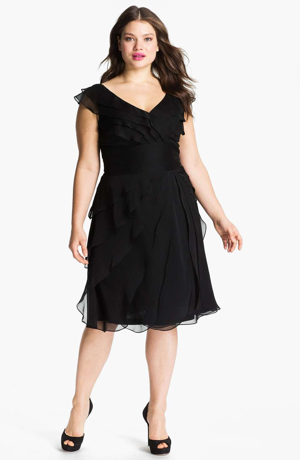 Adrianna Papell Chiffon Petal Gown (Plus Size)   Moda Fashion ...
