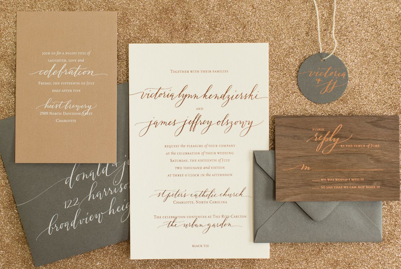 Rustic Boho Wood and Copper Foil Wedding Invitations | Weddings and ...
