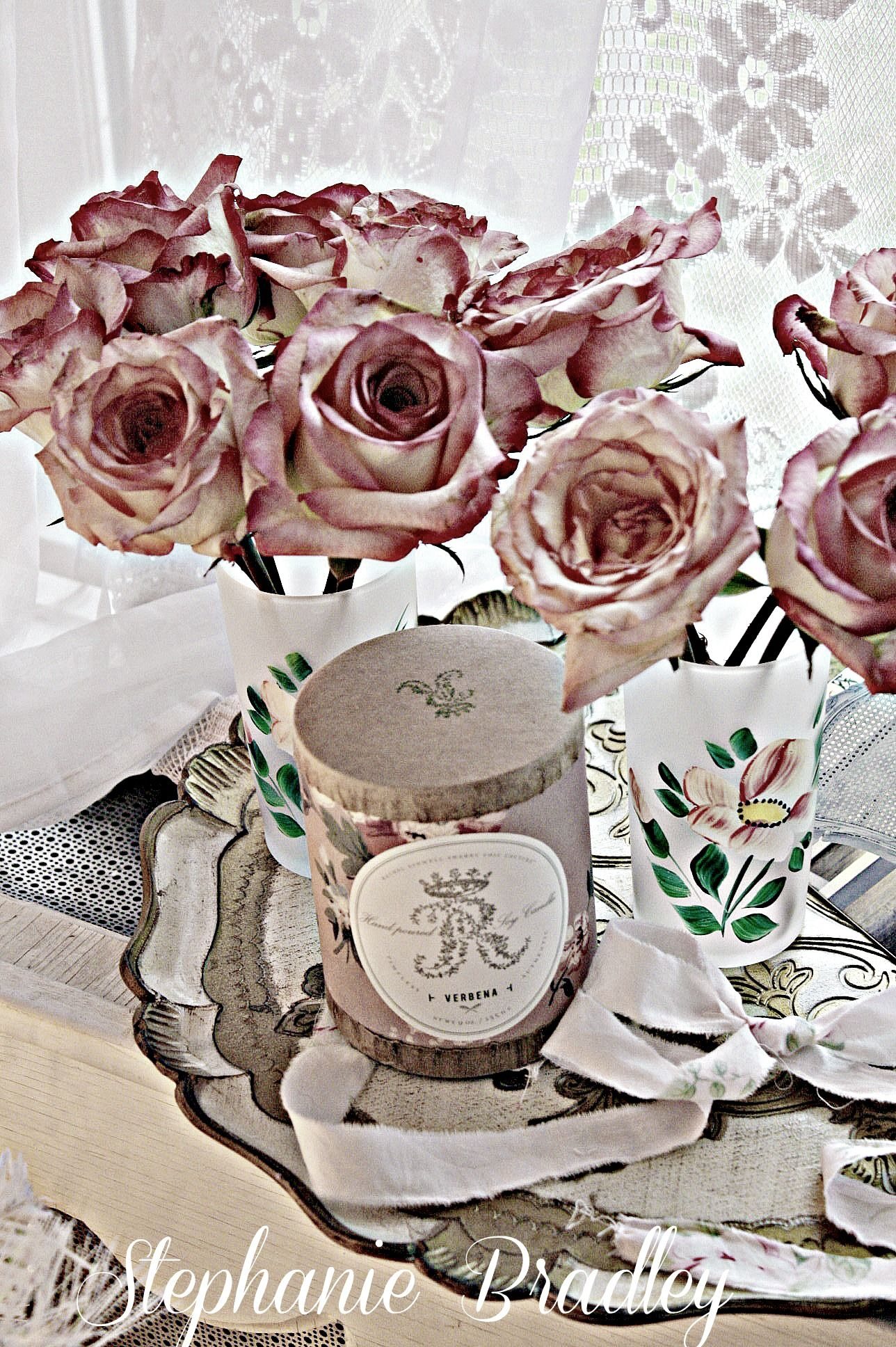 Roses and my Rachel Ashwell Verbena candle.