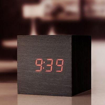 Kikkerland Dark Wood Alarm Clock Clap On Cube Bedside LED Display Clock |  EBay Photo Gallery