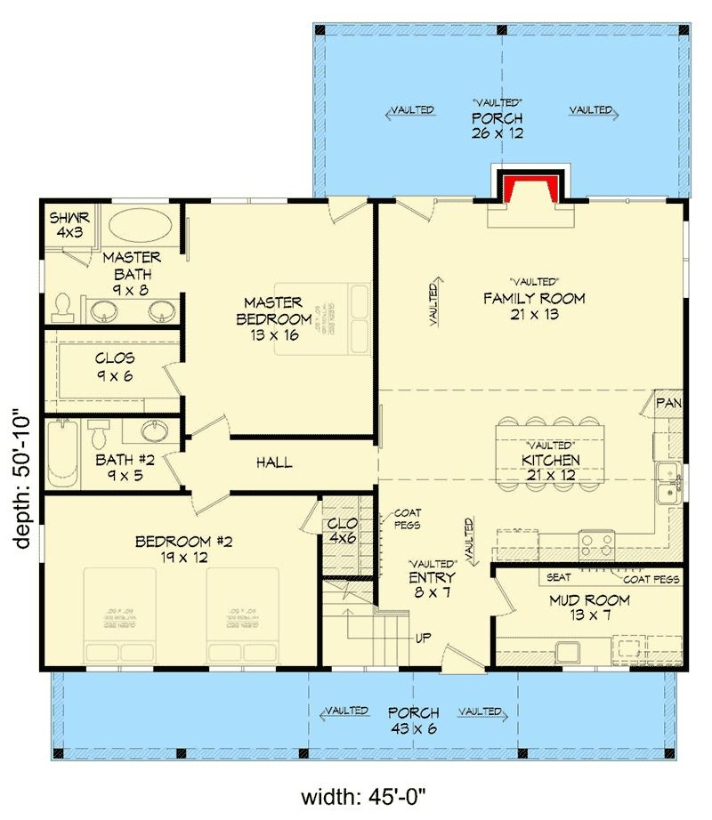 Plan 68420VR Two Bedroom Vacation Retreat with Spacious