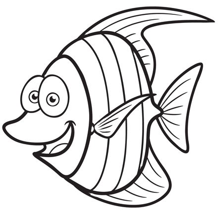 Dessin petit poisson rigolo a colorier coloriages - Coloriage de poisson a imprimer ...