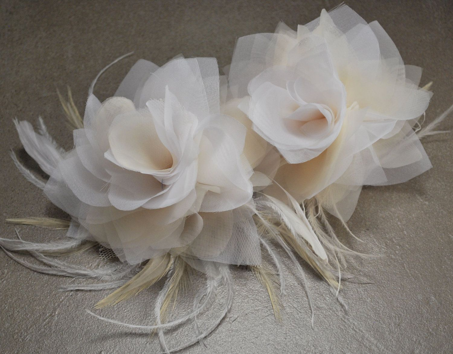 White Ivory Champagne Blush Bridal Headpiece Wedding Hair Clips