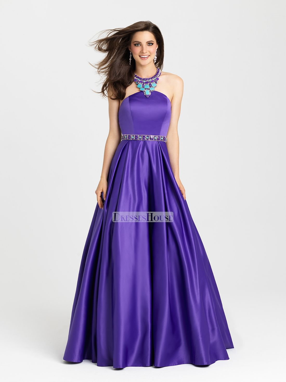 Ball Gown With Beaded Halter Neck Satin Prom Dress PD12120