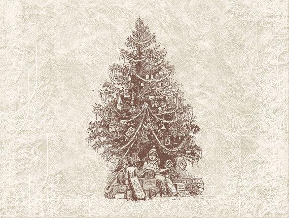 Christmas Tree Digital Illustration Antique