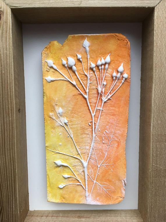Rustic clay wall art, raised impression of natural tiny rose buds ...