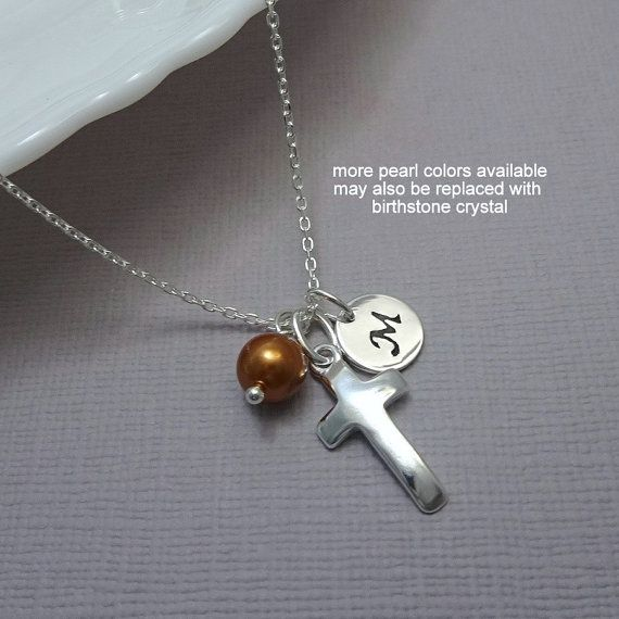 Confirmation Necklace, Baptism Gift, Personalized Cross Necklace, Sterling Silver Cross Necklace, Tiny Cross Necklace,  Flower Girl Gift