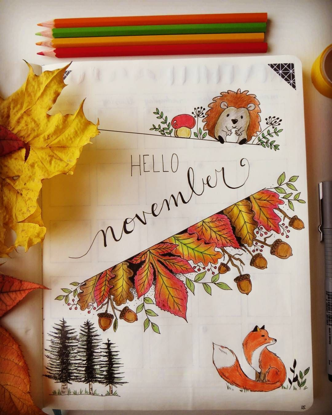"Natasha C on Instagram: ""My hello November page. A bit late, but just wanted to draw some leaves and a little hedgehog. :-) #autumn My hello November page. Love autumn for all its beautiful colors."
