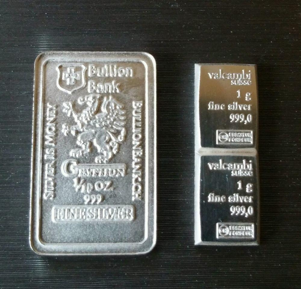 2x 1 Gram 999 Fine Silver Valcambi Suisse Bullion Bank 1 10 Oz Fine Silver Bar Silver Bars Gold And Silver Coins Gold Bullion Bars