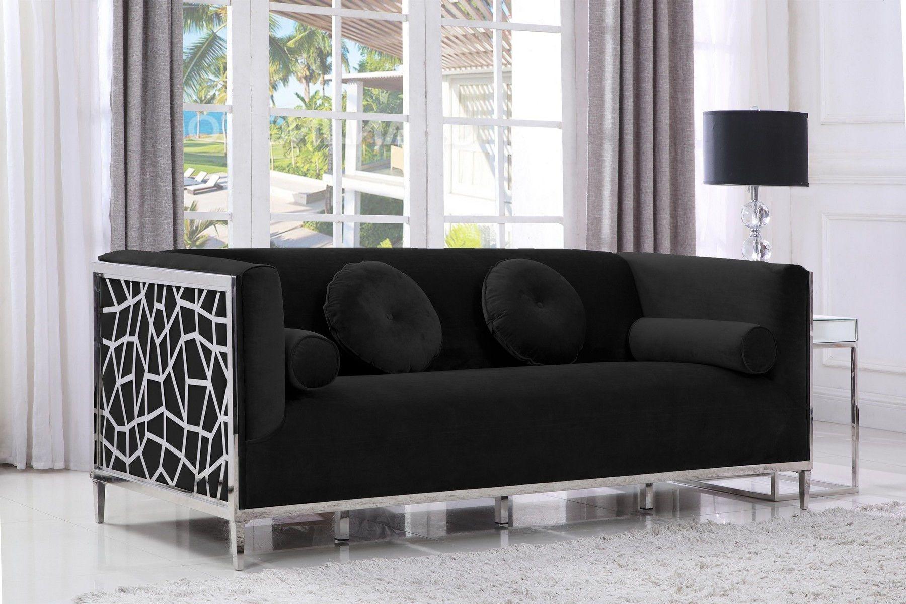 Opal Black Sofa 672 Meridian Furniture Fabric Sofas In 2021 Furniture Design Living Room Living Room Sofa Design Meridian Furniture