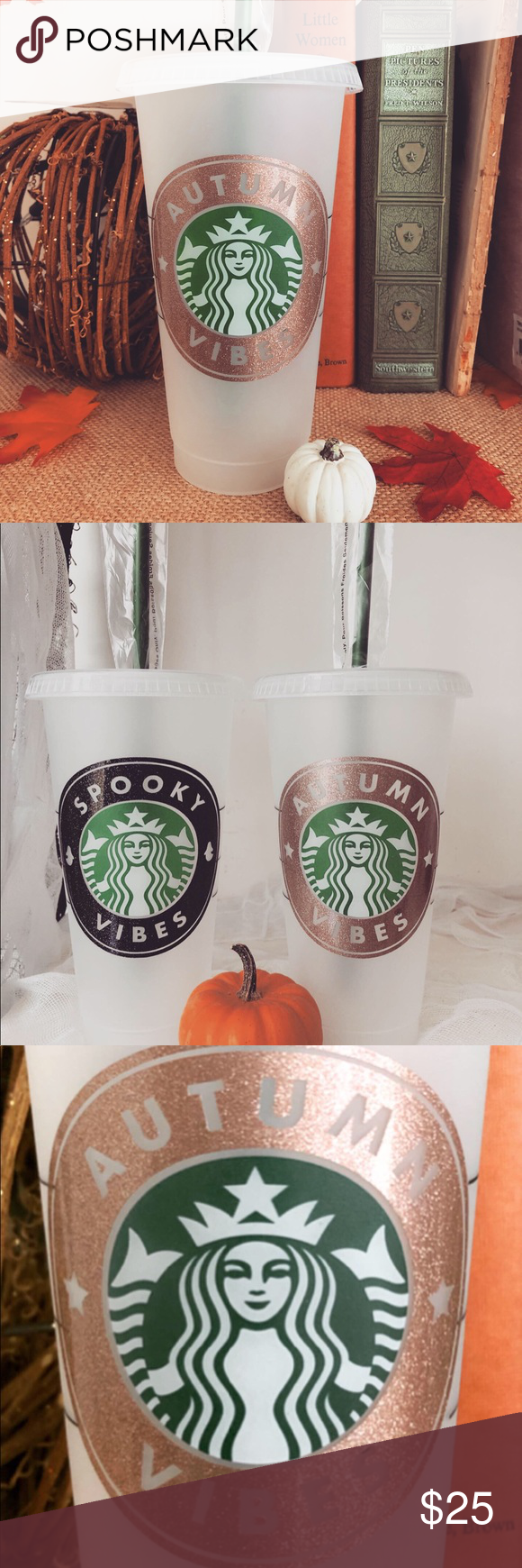 Autumn Vibes Starbucks Reusable Cold Cup Rose gold
