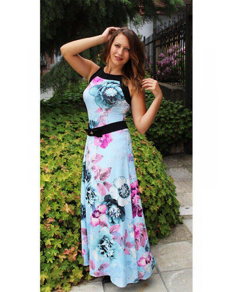 a0ea4302b89 Дълга рокля за лятото на цветя разкроена от полиестерна материя с еластан  българско производство купете от