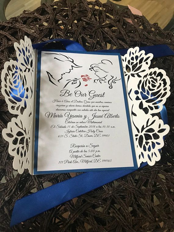 Beauty and the beast wedding invitations | Quinceañera invitations invitaciones bella y la bestia laser cut