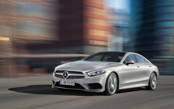 Télécharger fonds d'écran Mercedes-Benz CLS, 4k, 2018 les voitures, la route, la nouvelle CLS ...