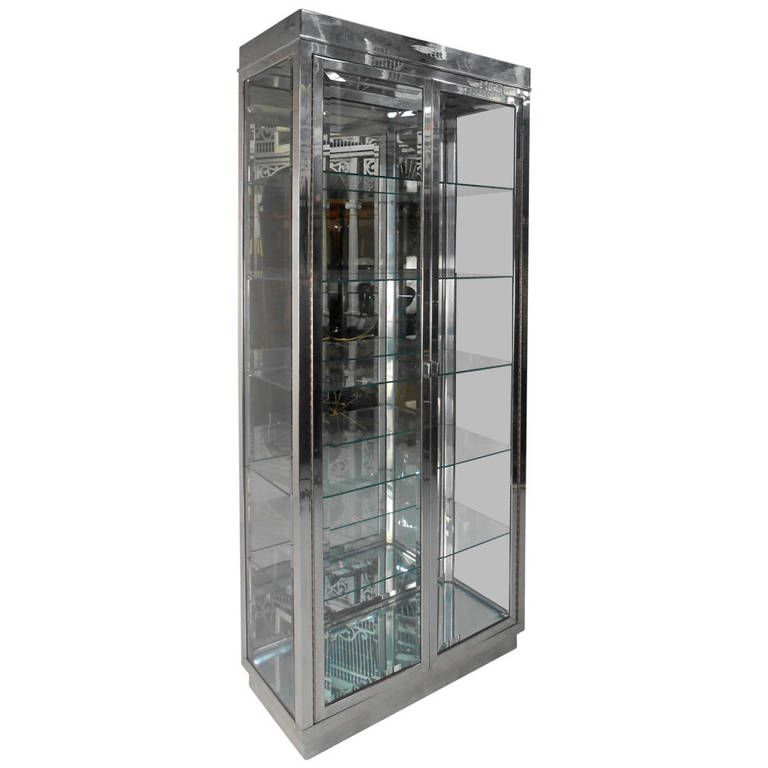 Mid Century Modern Chrome And Glass Mirrored Display Cabinet Mirror Display Glass Mirror Display Cabinet
