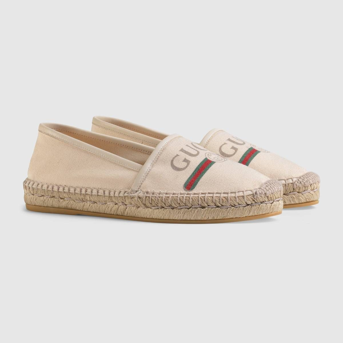 e1812d055f5 Shop the Gucci logo canvas espadrille by Gucci. A reference to vintage  prints from the