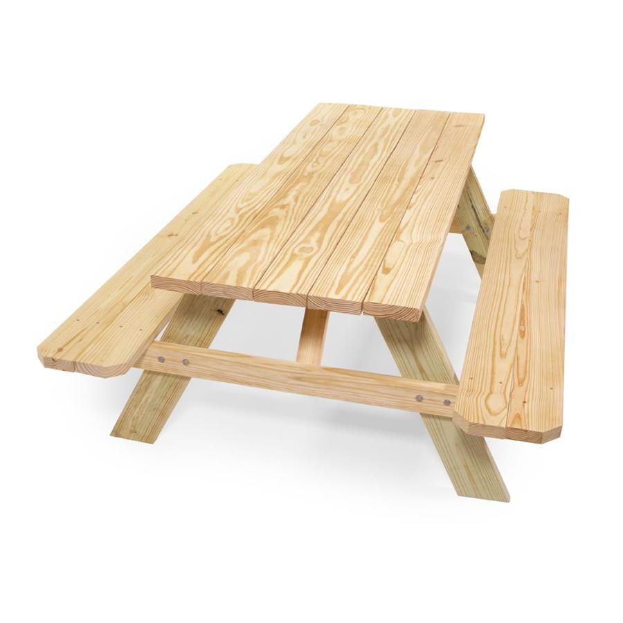 72 In Brown Southern Yellow Pine Rectangle Picnic Table Lowes Com