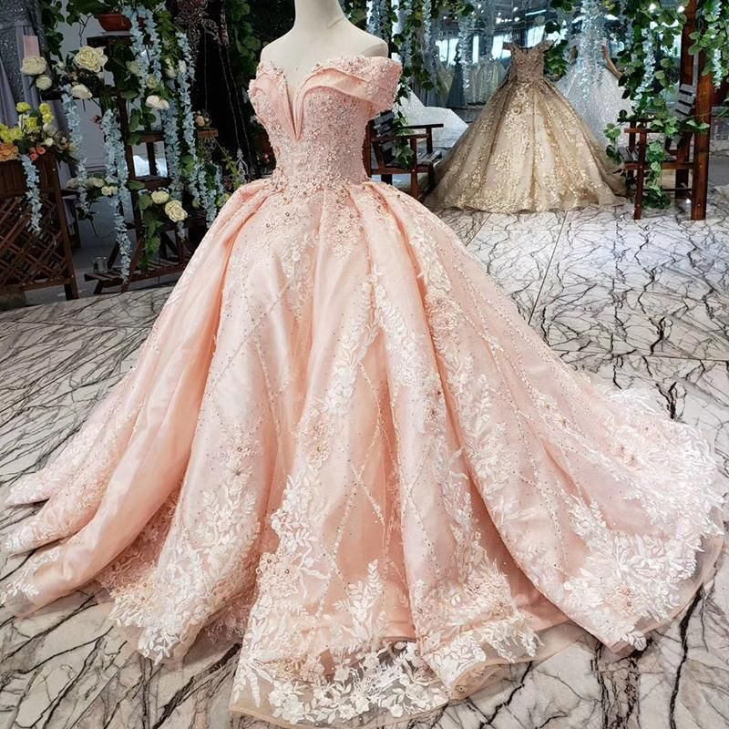 Photo of pink bride dress party brush train off shoulder sweetheart c…