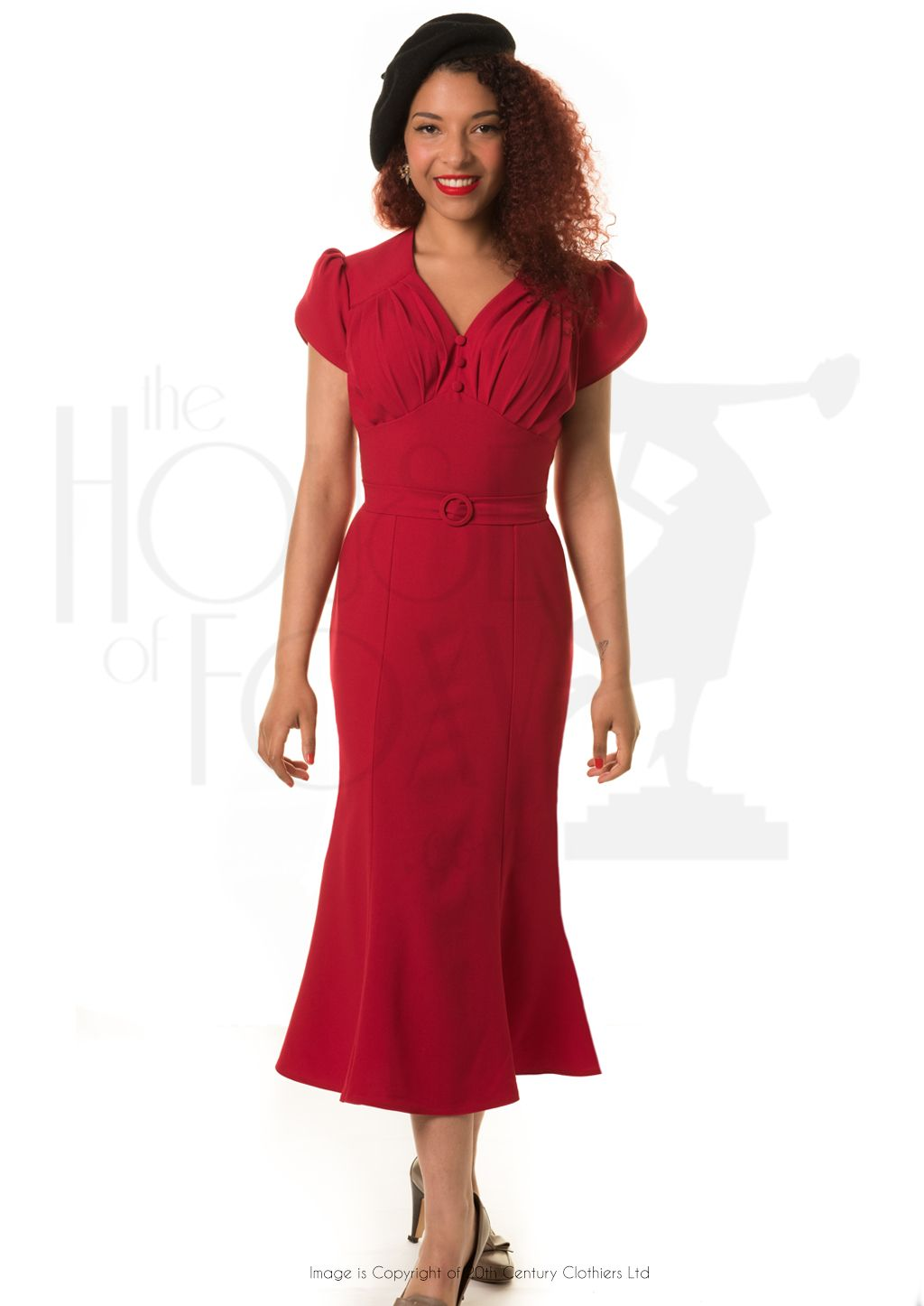 Retro Wiggle Dress In 1940s Style Red 1940s Fashion Vintage Style Dresses Dresses [ 1446 x 1024 Pixel ]