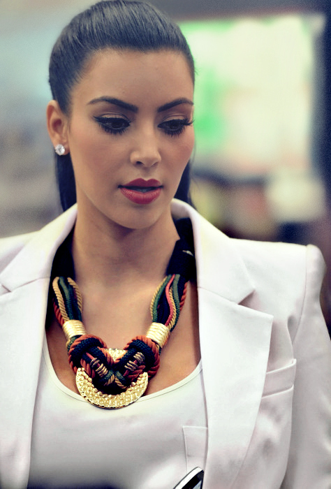 Kim K with an awesome statement necklace