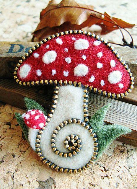 Felt and zipper mushroom brooch by woolly  fabulous, via Flickr