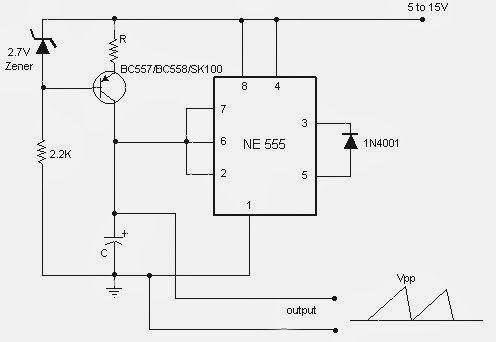 Sawtooth Wave Generator circuit using IC NE555 | Electronics