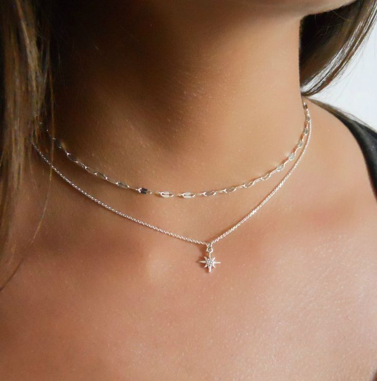 Silver North Star Necklace and Chain Choker – Set Of 2 Necklaces (SNS530)