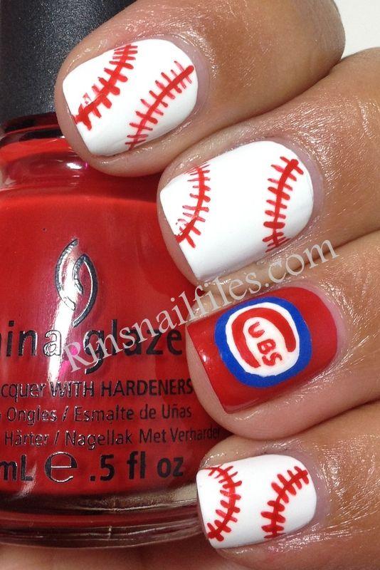 baseball painted fingernails - Google Search | Nails, Makeup, hair ...