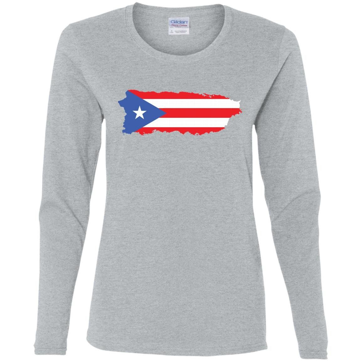 Puerto Rico flag-01 G540L Gildan Ladies' Cotton LS T-Shirt