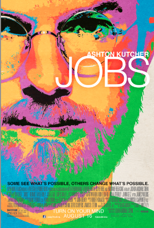 """This is the poster for the upcoming Steve Jobs movie starring Ashton Kutcher. It's very colorful, but despite the oncoming """"designed by Jony Ive"""" jokes, it's worth knowing that it's actually the same colors as the old Apple logo."""