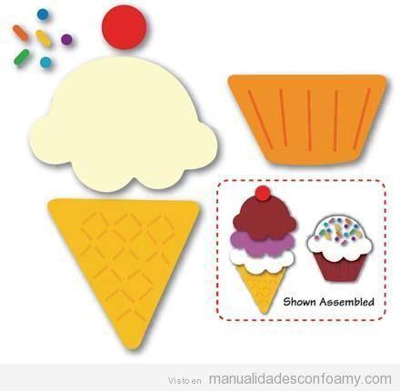 Molde para manualidad para ni os helado de goma eva manualidades pinterest fieltro - Moldes reposteria originales ...