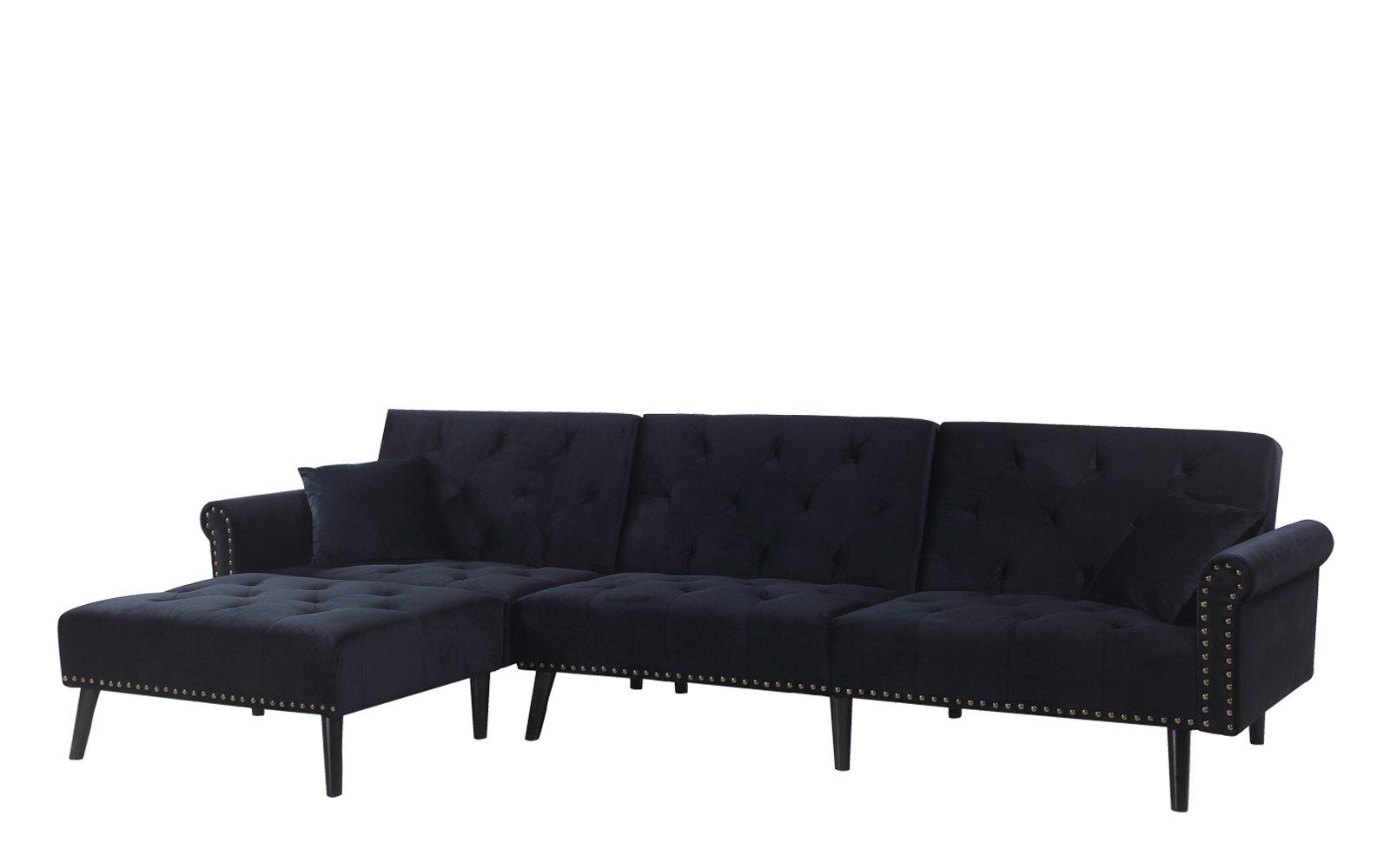 Fabulous Victoria Classic Velvet Nailhead Trim Sleeper Sofa With Left Forskolin Free Trial Chair Design Images Forskolin Free Trialorg