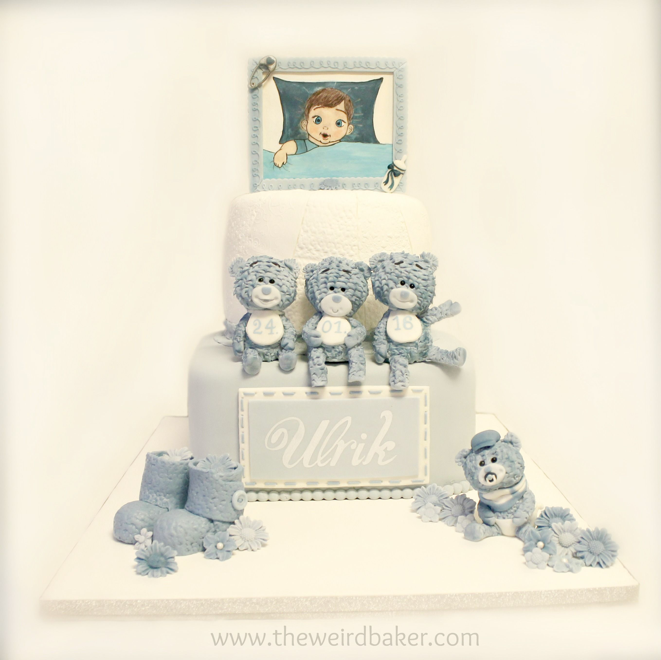 Christening cake for a boy with fondant teddybears and edible handpainted baby picture