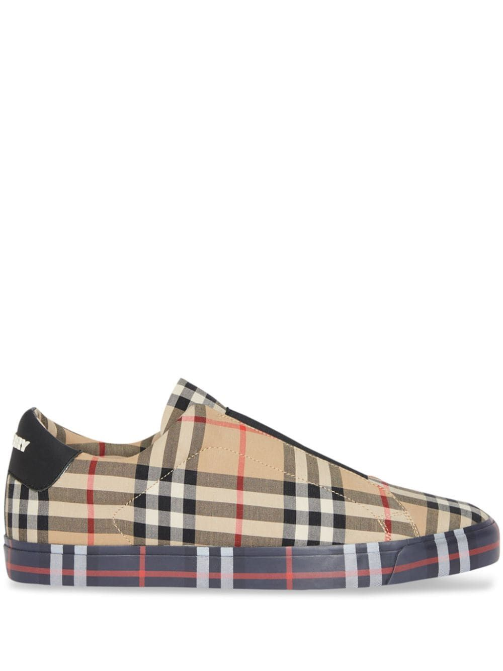 4dbe004f5 Burberry Contrast Check and Leather Slip-on Sneakers - Neutrals Burberry  Shoes, Burberry Men