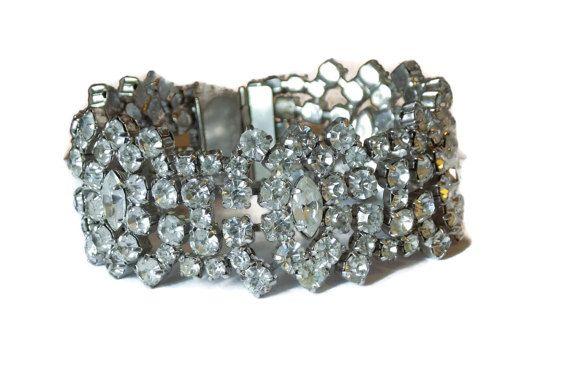 Vintage Rhinestone Bracelet Link Wedding By Thefashionden