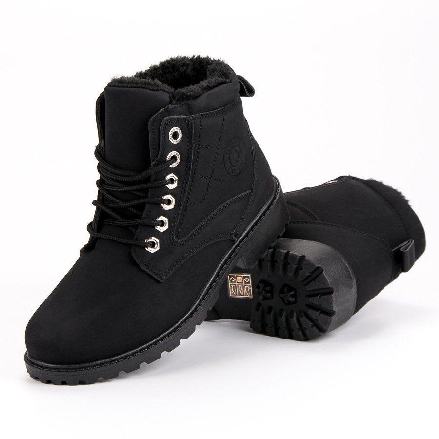 Botki Damskie Butymodne Klasyczne Czarne Trapery Shoes Winter Boot Boots